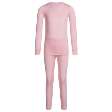 cuddl duds comfortech base layer set long sleeve for toddler girls in petal