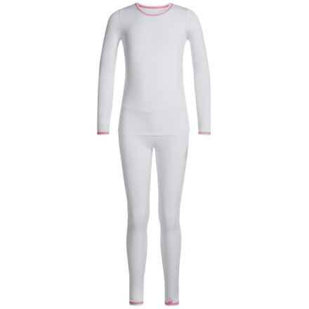 Cuddl Duds Comfortech Poly Base Layer Set - 2-Piece, Long Sleeve (For Little and Big Girls) in White - Closeouts