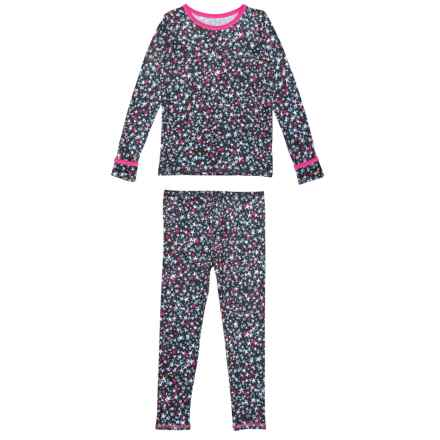 Cuddl Duds Comfortech Poly Base Layer Set - Long Sleeve (For Toddler Girls) in Black/Multi Stars - Closeouts