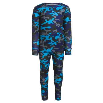 Cuddl Duds Comfortech Poly Base Layer Top and Pants Set (For Toddler Boys) in Black Multi Print - Closeouts