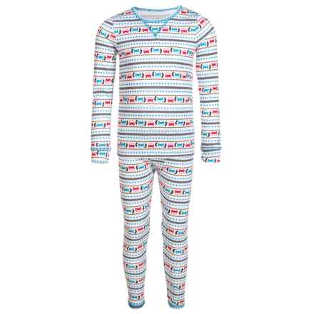 Cuddl Duds Comfortech Poly Base Layer Top and Pants Set (For Toddler Boys) in White Multi - Closeouts