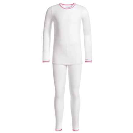 Cuddl Duds Comfortech Stretch Base Layer Top and Pants Set - Long Sleeve (For Little and Big Girls) in White - Closeouts