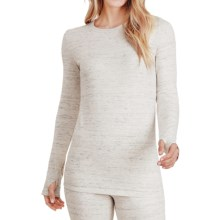 Cuddl Duds Comfortwear Stretch Crew Neck Shirt - Long Sleeve (For Women) in Ivory Heather - Closeouts