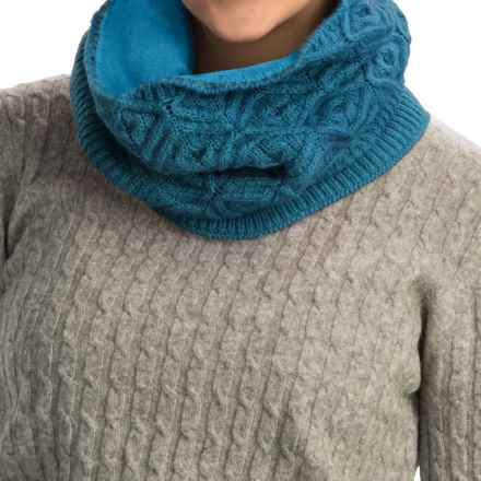 Cuddl Duds Diamond Stretch Textured Snood Scarf (For Women) in Aegean Blue - Closeouts