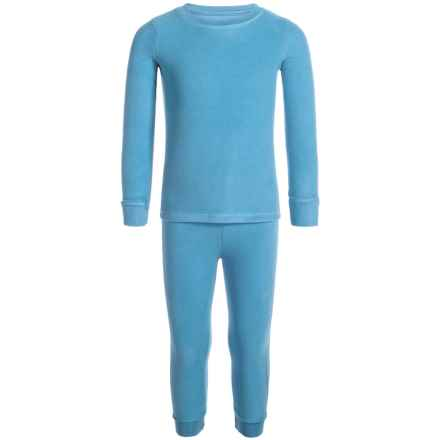 Cuddl Duds Fleece Base Layer Top and Pants Set - Long Sleeve (For Toddler Girls) in Aqua - Closeouts