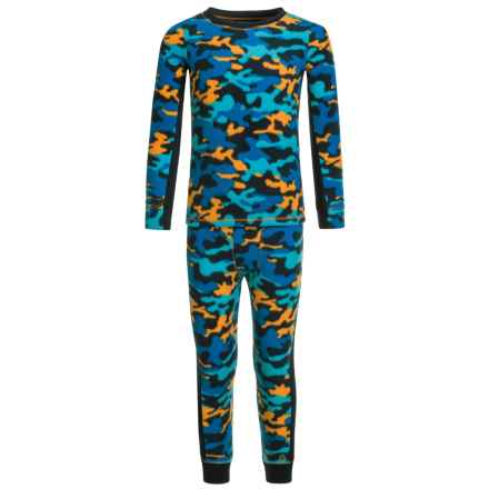 Cuddl Duds Fleece Top and Pants Base Layer Set - Long Sleeve (For Toddler Boys) in Blue/Novel - Closeouts