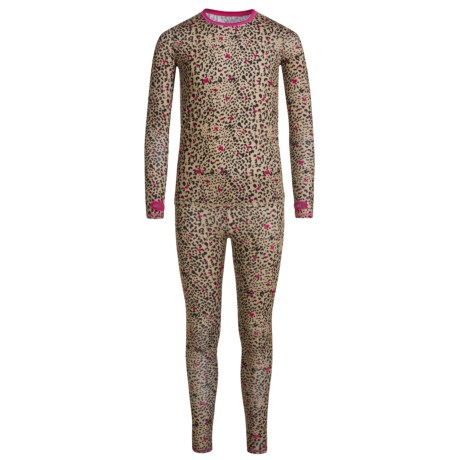 Cuddl Duds Printed Comfortech® Poly Base Layer Top and Pants Set - Long Sleeve (For Little and Big Girls) in Tan Print