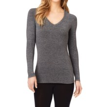 Cuddl Duds Softwear Stretch Jersey Shirt - V-Neck, Long Sleeve (For Women) in Charcoal Heather - Closeouts