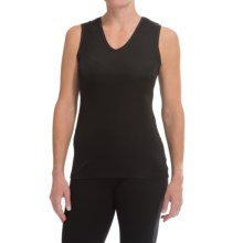 Cuddl Duds SoftWear Tank Top - V-Neck (For Women) in Black - Closeouts