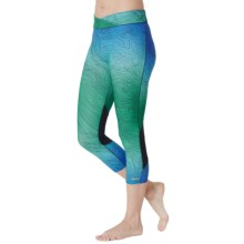 Cuddl Duds Sport Layer SofTech Core Crop Leggings (For Women) in Aqua Novelty - Overstock