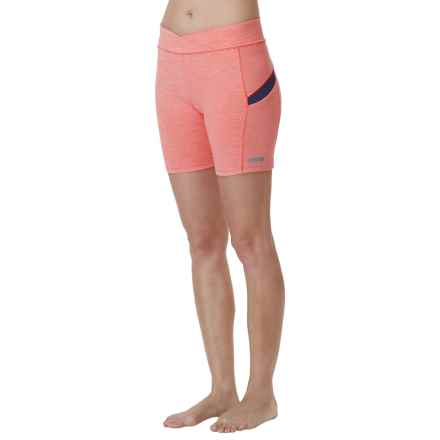 Cuddl Duds Sport Layer SofTech Core Shorts (For Women) in Coral Stripe - Overstock