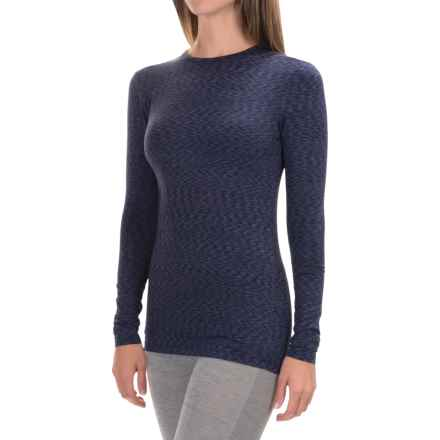 Cuddl Duds Stretch Microfiber Top - Long Sleeve (For Women) in Navy Space Dye - Closeouts