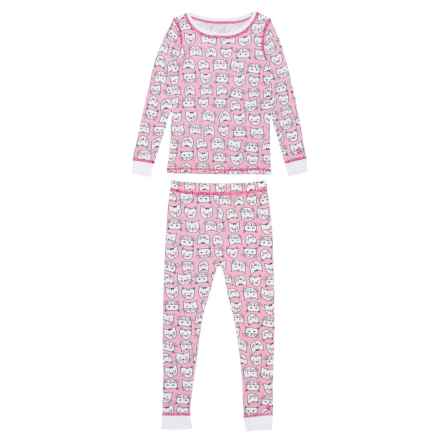 Cuddl Duds Thermal Base Layer Set - Crew Neck, Long Sleeve (For Toddler Girls) in Pink/Cats - Closeouts