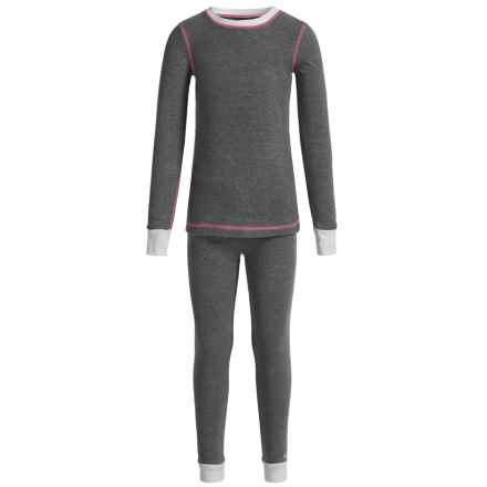 Cuddl Duds Thermal Base Layer Set - Long Sleeve (For Big and Little Girls) in Light Grey - Closeouts