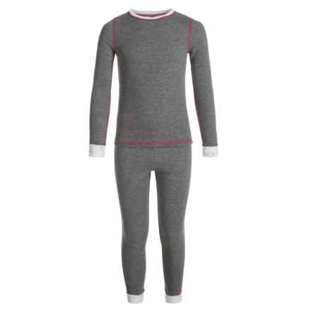 Cuddl Duds Thermal Top and Pants Base Layer Set - Long Sleeve (For Toddler Girls) in Grey Heather - Closeouts
