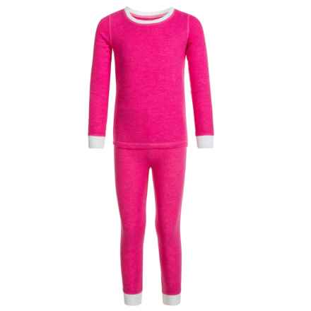 Cuddl Duds Thermal Top and Pants Base Layer Set - Long Sleeve (For Toddler Girls) in Heather Rose - Closeouts