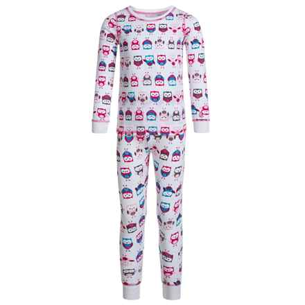 Cuddl Duds Thermal Top and Pants Base Layer Set - Long Sleeve (For Toddler Girls) in Owls - Closeouts