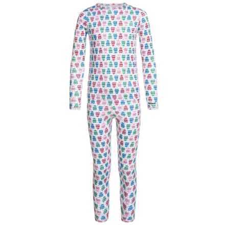 Cuddl Duds Top and Pants Base Layer Set - Long Sleeve (For Little and Big Girls) in Owls - Closeouts