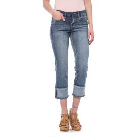 Cuff Hem Crop Jeans - Mid Rise, Straight Leg (For Women)