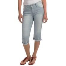Cuffed Capris - Stretch Cotton (For Women) in White/Blue Stripe - 2nds