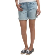 Cuffed Denim Shorts (For Women) in Light Blue - 2nds