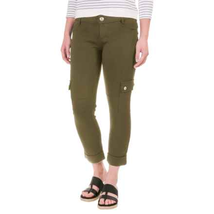 Cuffed Knit Cargo Pants (For Women) in Army Green - 2nds