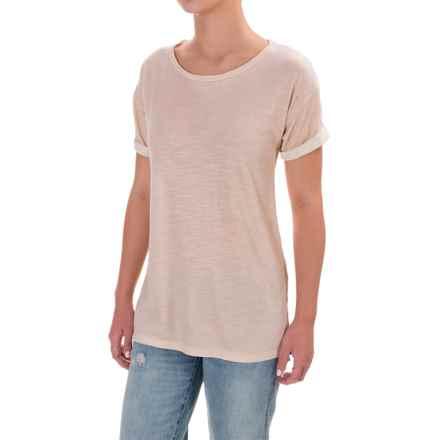 Cuffed Slub Cotton-Modal Shirt - Short Sleeve (For Women) in Creame - 2nds