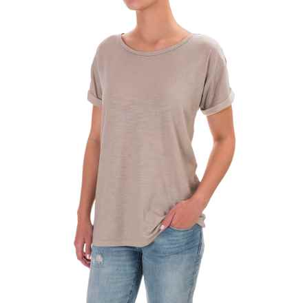 Cuffed Slub Cotton-Modal Shirt - Short Sleeve (For Women) in Grey - 2nds