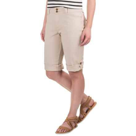 Cuffed Twill Shorts - Stretch Cotton (For Women) in Khaki - 2nds