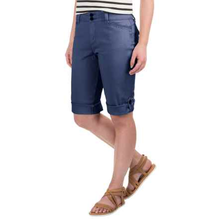 Cuffed Twill Shorts - Stretch Cotton (For Women) in Navy - 2nds