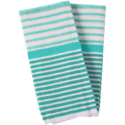 Cuisinart 3-Tone Beach Stripe Kitchen Towels - 2-Pack in Aruba Blue - Closeouts