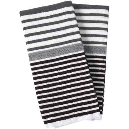 Cuisinart 3-Tone Beach Stripe Kitchen Towels - 2-Pack in Black - Closeouts