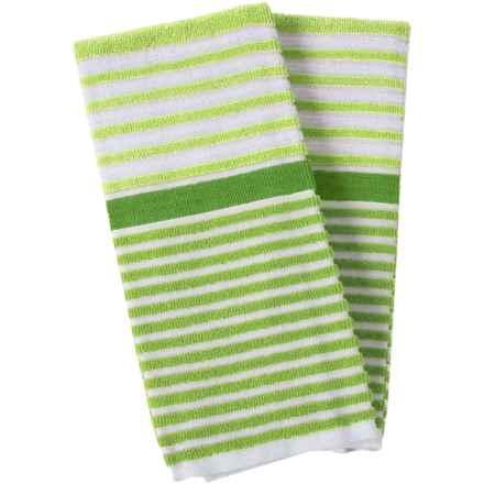 Cuisinart 3-Tone Beach Stripe Kitchen Towels - 2-Pack in Daquiri Green - Closeouts