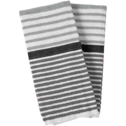 Cuisinart 3-Tone Beach Stripe Kitchen Towels - 2-Pack in Grey - Closeouts