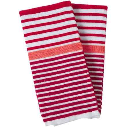 Cuisinart 3-Tone Beach Stripe Kitchen Towels - 2-Pack in Salsa - Closeouts