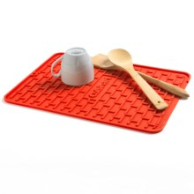 Cuisinart All Silicone Subway Tile Dish Dry Mat in Red - Overstock