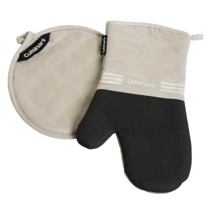 Cuisinart Oven Mitt and Pot Holder with Neoprene Grip - 2-Piece Set in Feather Tan - Closeouts