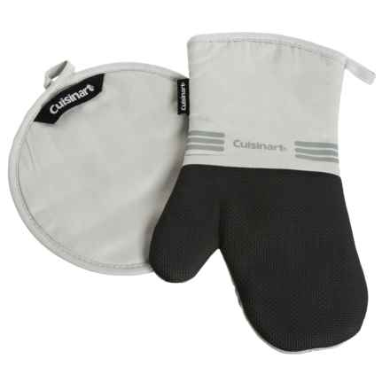 Cuisinart Oven Mitt and Pot Holder with Neoprene Grip - 2-Piece Set in Grey - Closeouts