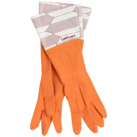 Cuisinart Printed Latex Cleaning Gloves in Orange Pinstripes - Closeouts