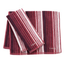 Cuisinart Two-Tone Striped Ombre Kitchen Towel - Pack of 2 in Red - Closeouts