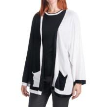 Cullen Boxy Colorblock Cardigan Sweater (For Women) in Black/White - Closeouts