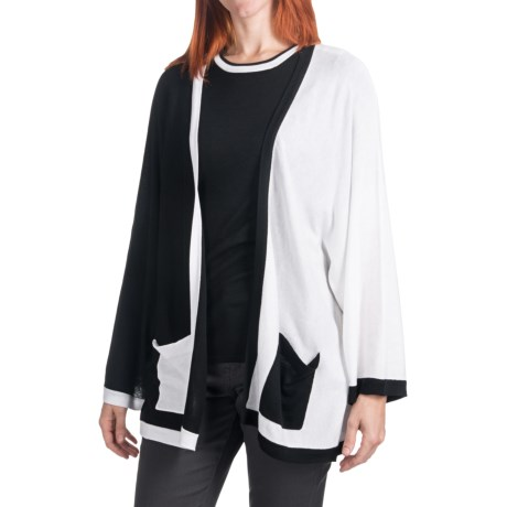 Cullen Boxy Colorblock Cardigan Sweater (For Women) in Black/White