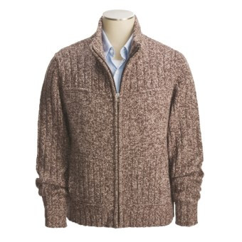 Cullen Chunky Donegal Tweed Zip Sweater (For Men) in Espresso Tweed
