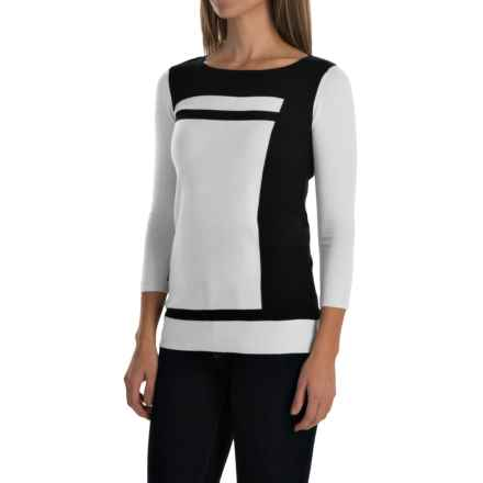 Cullen Color-Block Sweater - Cotton, 3/4 Sleeve (For Women) in White Combo - Closeouts