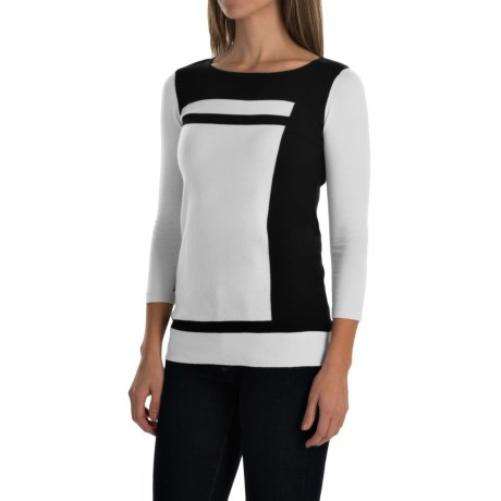 Cullen Color Block Sweater Cotton, 3/4 Sleeve (For Women)