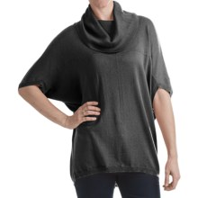 Cullen Hi-Lo Cowl Neck Sweater - Silk Blend, 3/4 Envelope Sleeve (For Women) in Black - Closeouts