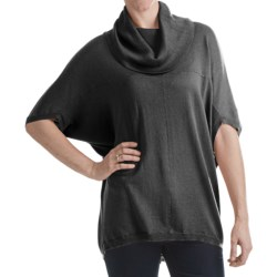 Cullen Hi-Lo Cowl Neck Sweater - Silk Blend, 3/4 Envelope Sleeve (For Women) in Navy