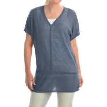 Cullen Linen V-Neck Seamed Shirt - Short Sleeve (For Women) in Denim - Closeouts