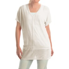 Cullen Linen V-Neck Seamed Shirt - Short Sleeve (For Women) in White - Closeouts