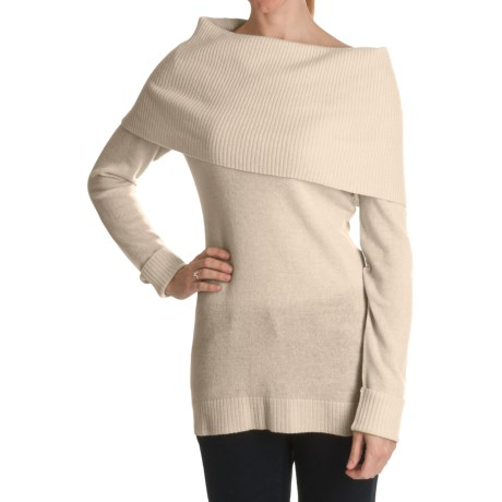 Cullen Over-the-Shoulder Cowl Neck Sweater - Cashmere (For Women) in Ivory